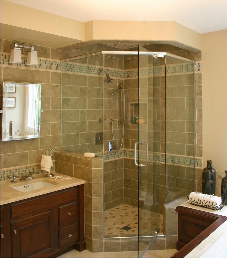 Bathrooms with corner showers